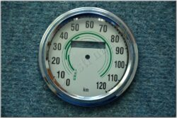 repair kit - speedometer 120 km / h (Kyvačka) green dial / D=85mm / d=75mm