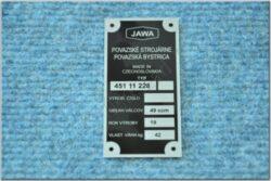 Plate, Name & serial number ( Babetta 228 ) production plant Povážská Bystrica