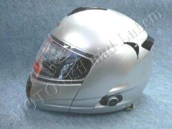 Flip-Up Helmet FU3B - silver, bluetooth ( Motowell )