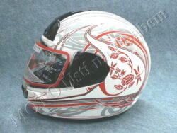Full-face Helmet FF1 - red flower ( Motowell )