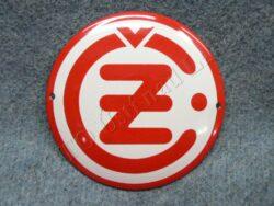 logo ČZ - kulaté,červené 120 mm, smalt
