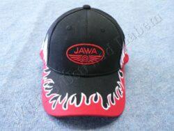 čepice s kšiltem - logo JAWA - černá/ lem plameny