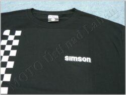 T-shirt black w/ logo SIMSON & checkered pattern(930567M)