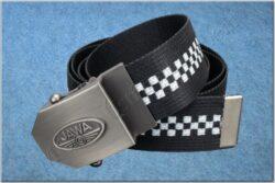belt JAWA / textile black checkerboard - size 150cm(930813)